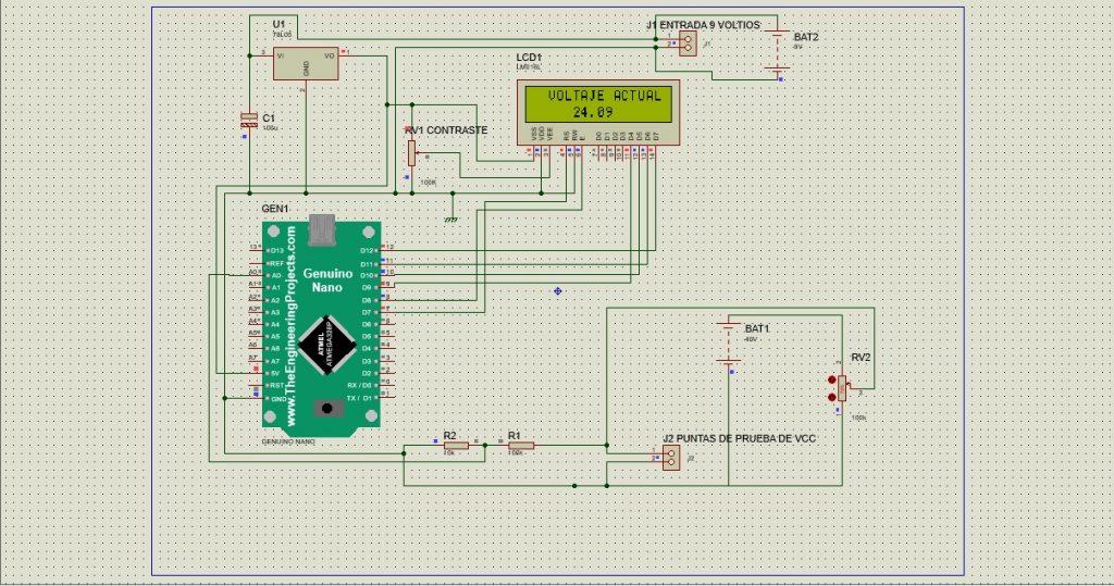 Voltímetro de corriente continua con arduino