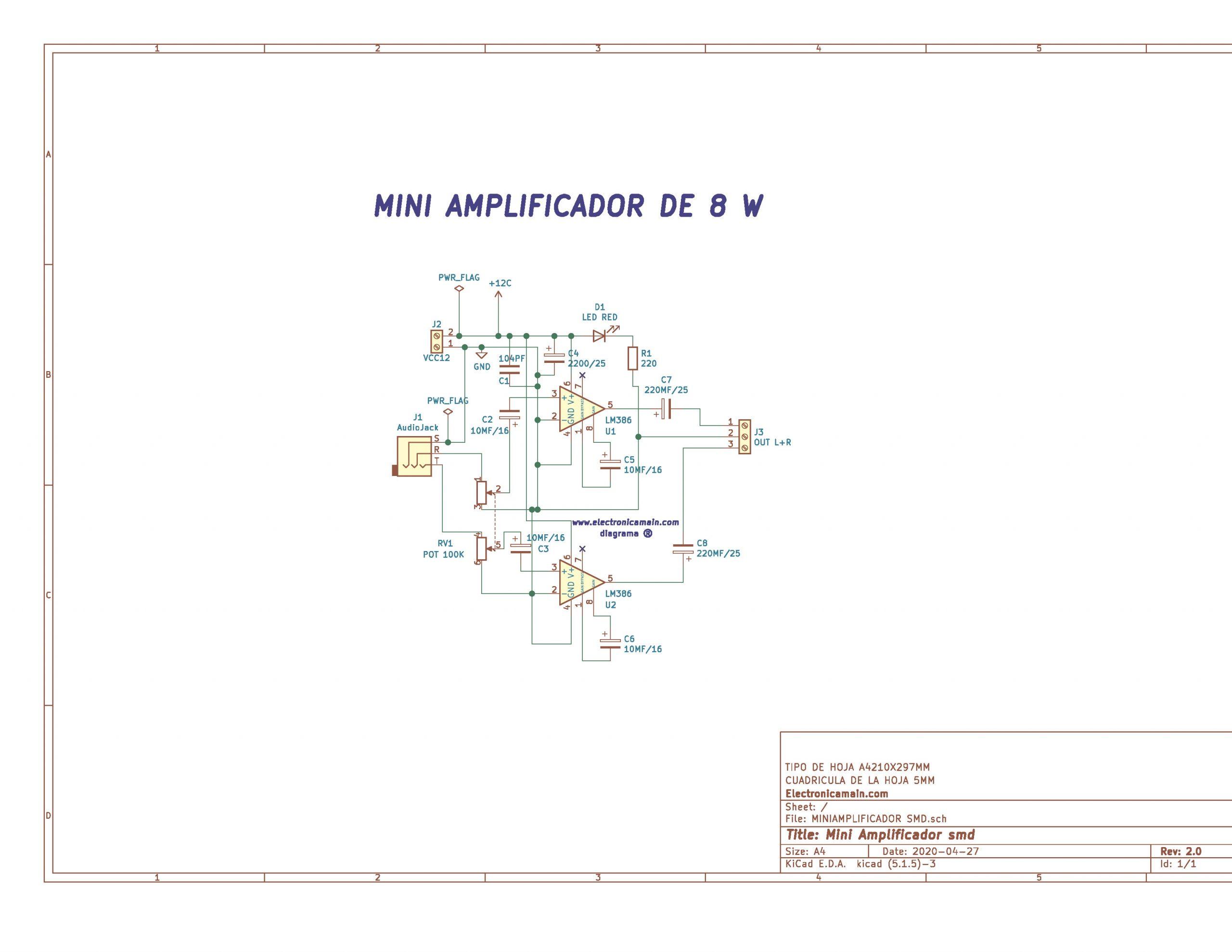 Mini amplificador de audio con ic Lm386